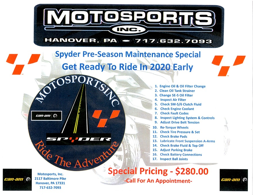 spyder motorcycle maintenance special motosports hanover pa